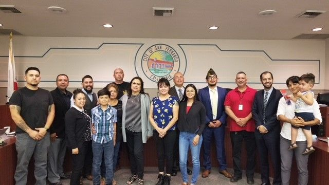 VFW 3834 members and the Alvarez Family at City Hall